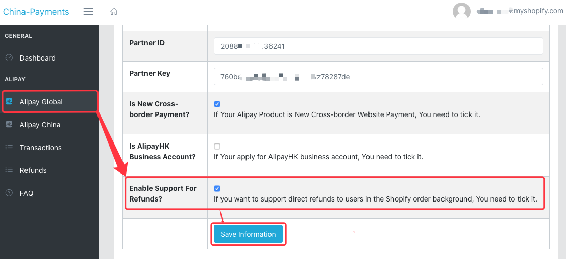 Alipay Global Enable Refund