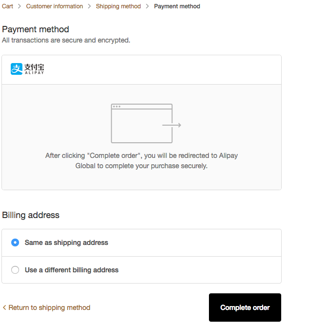 Alipay-Payments checkout
